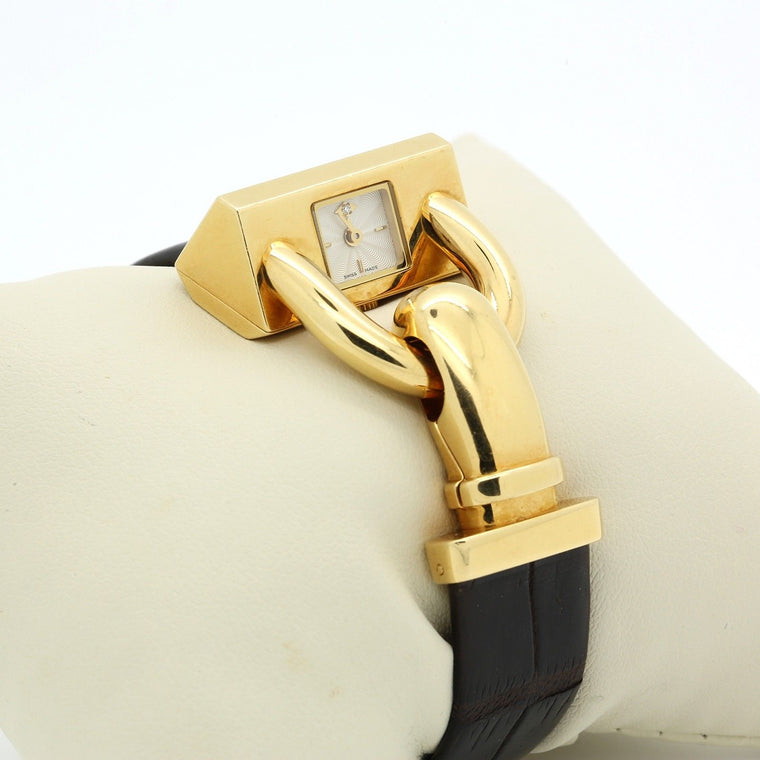 Van Cleef & Arpels Cadenas Bracelet Watch 18k Yellow Gold Guilloche Diamond Dial