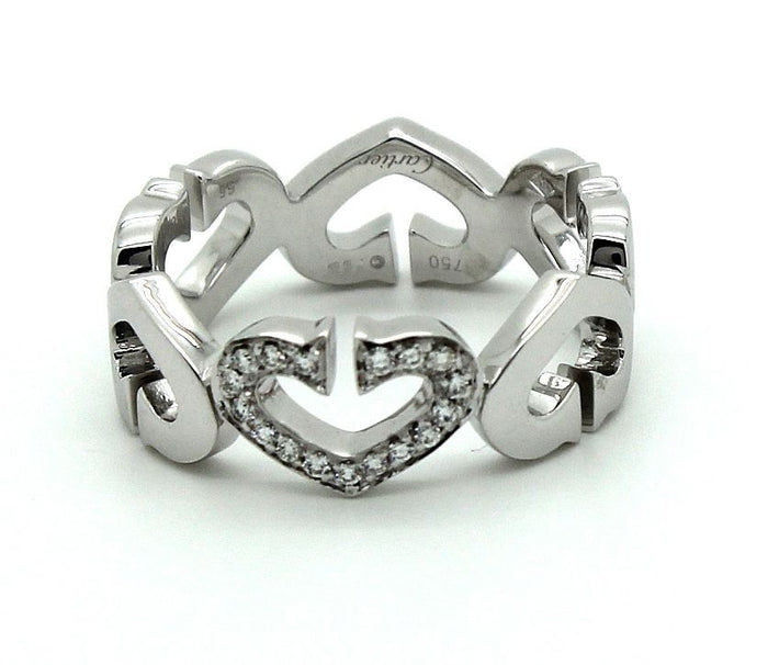 Cartier Heart & Symbols Ring in 18k white gold & Diamonds. Size 7.25 US. - Terrafinejewelry
