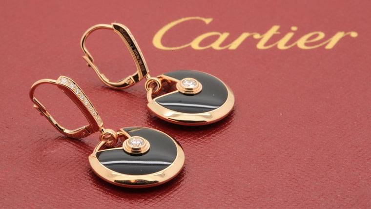Cartier Amulette Earrings in 18k Pink Gold, Onyx and Diamonds Ref B8301222