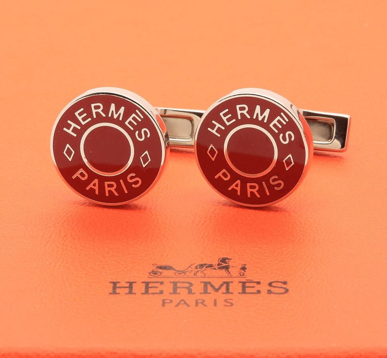 Hermes logo Licol Cufflinks Palladium Plated Brass and Red Lacquer