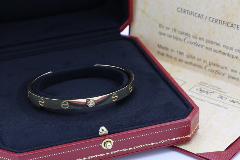 Cartier Love Bracelet in 18k Yellow Gold 1 Diamond Size 18 Papers & Box - Terrafinejewelry