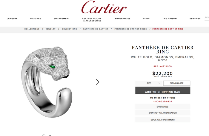 Cartier Panthere Ring in 18k White Gold, Pave Diamonds, Emerald & Onyx Size 50 - Terrafinejewelry