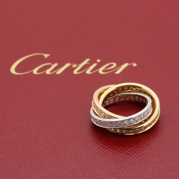 Cartier Trinity Diamond Band Ring in 18k White Yellow & Rose Gold with box.