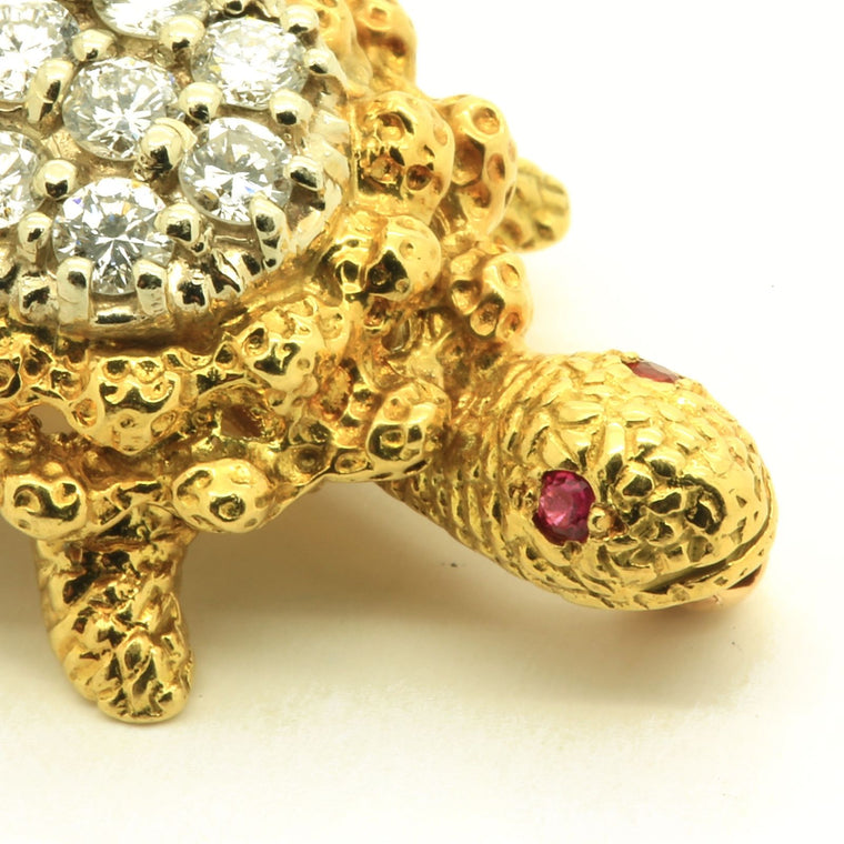 Vintage Turtle Pin Brooch in 18k Yellow & White Gold with Diamond & Ruby