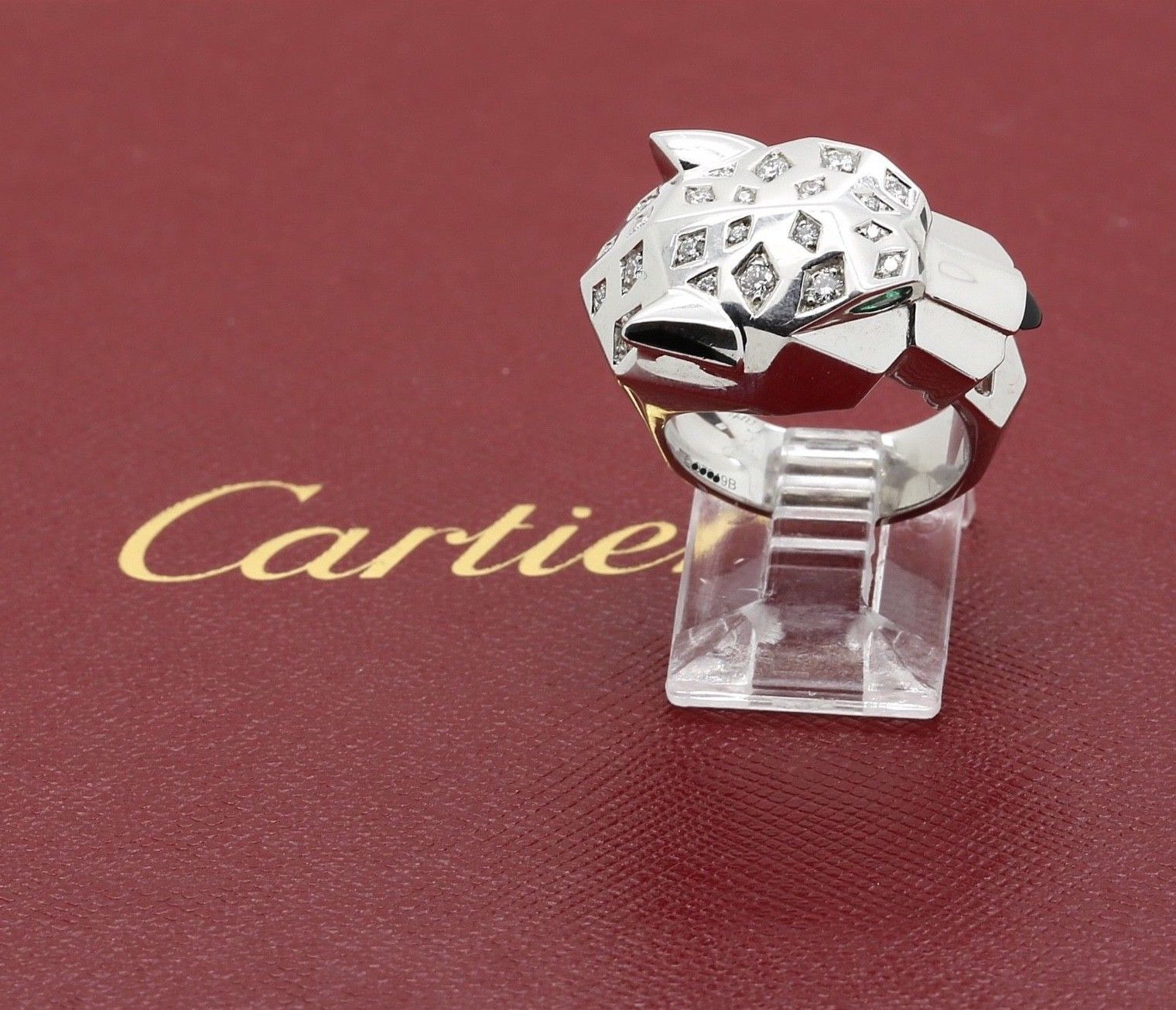 Cartier Panthere Diamond Emerald Onyx Ring In 18k White Gold