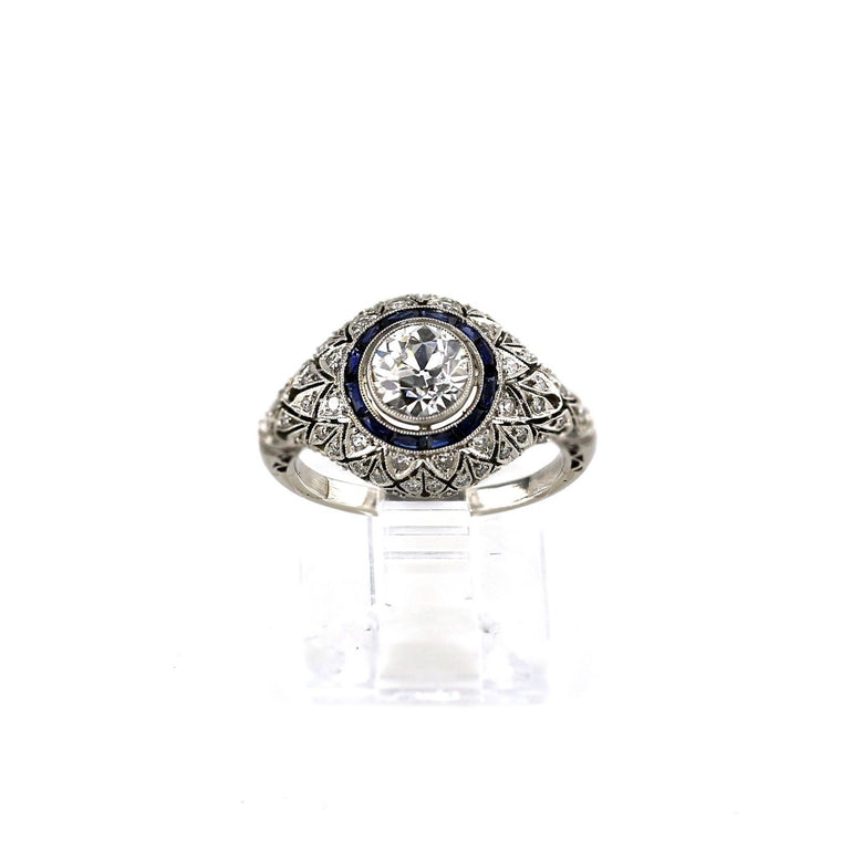 Antique Art deco style platinum diamond sapphire cocktail cluster ring size 6.5