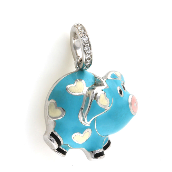 Aaron Basha Pig Diamond Charm Necklace 18k White Gold & Blue Enamel - Terrafinejewelry