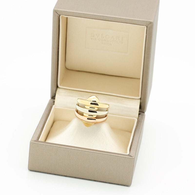 Vintage Bvlgari 18k Yellow White Rose Gold Ring in Box. Serviced Feb 18 - Terrafinejewelry