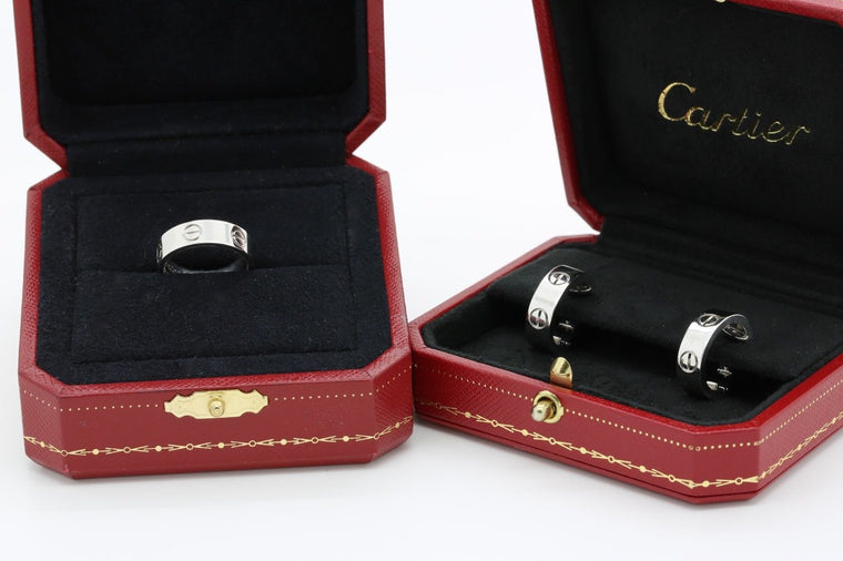 Cartier Love Ring & Earrings Set in 18k White Gold Ring Size 51 US 5 3/4