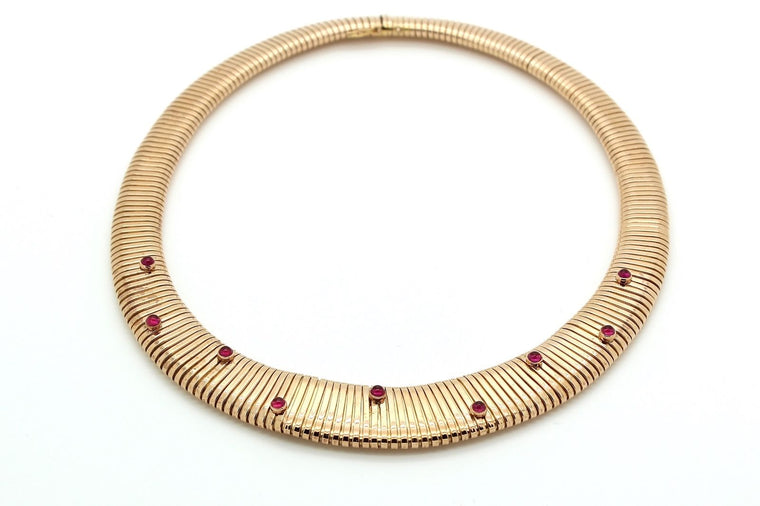Retro 1940's tubogas necklace in 18k rose gold & ruby (9 rubies)