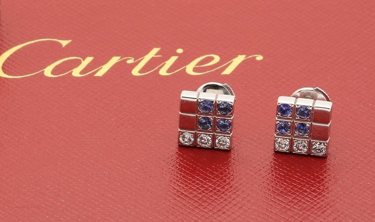 Cartier Links & Chains Lanieres Earrings 18k White Gold Diamond Blue Sapphire