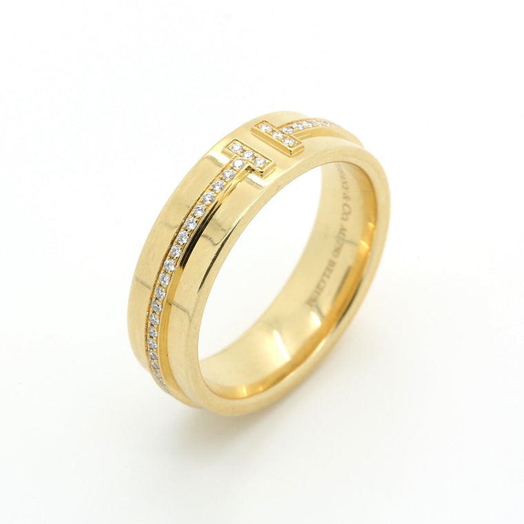 Tiffany & Co. T Two Ring in 18k Yellow Gold and Diamonds. Size US 6 1/2.