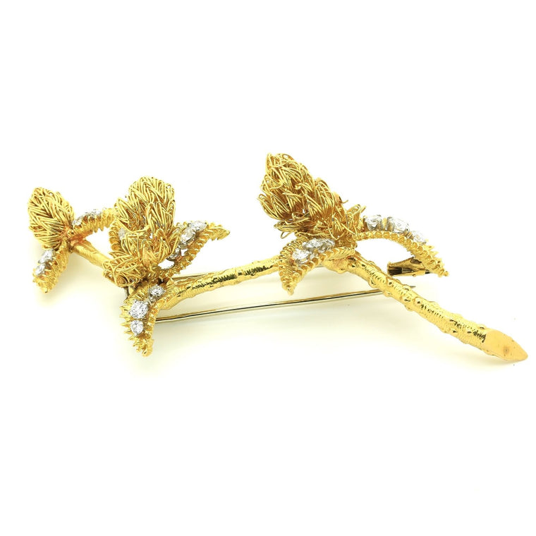 Antique Boucheron Brooch in 18k Yellow Gold and Diamonds