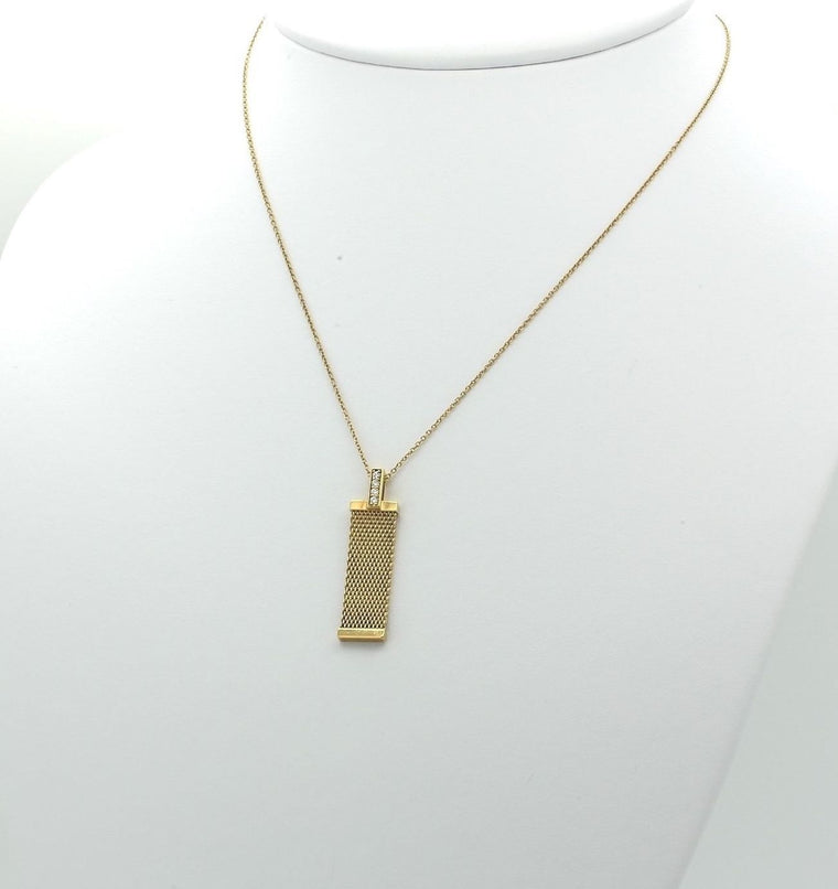 Tiffany & Co Somerset Mesh Necklace Pendant in18k Yellow Gold with 4 Diamonds