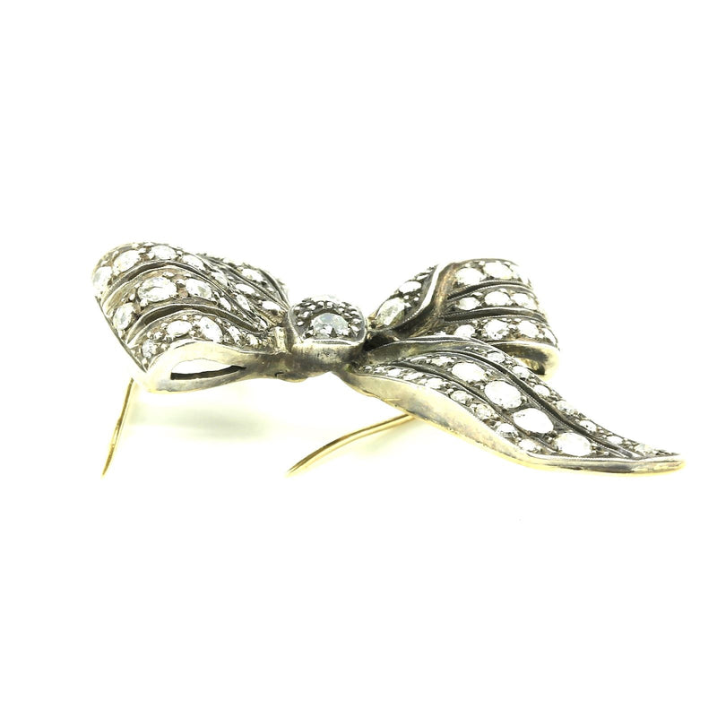 Antique Victorian Bow Motif Brooch Gold & Silver topped 3.10 carats of Diamonds - Terrafinejewelry