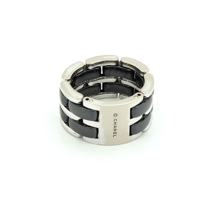 Chanel Ultra Ring in 18k White Gold & Black Ceramic Size 55 EU 7 US