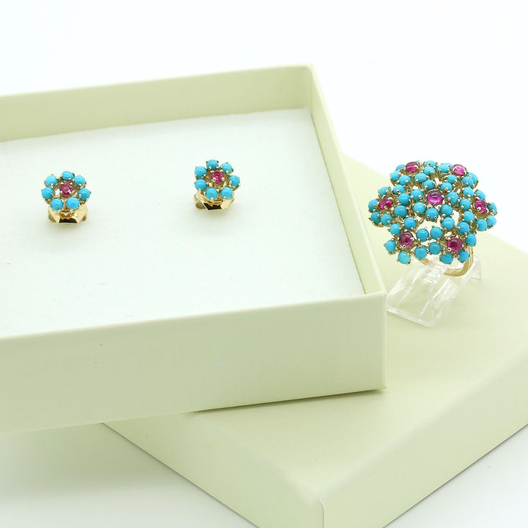 Vintage 18k rose gold Turquoise & Ruby Set of Ring & Earrings Size 6.75