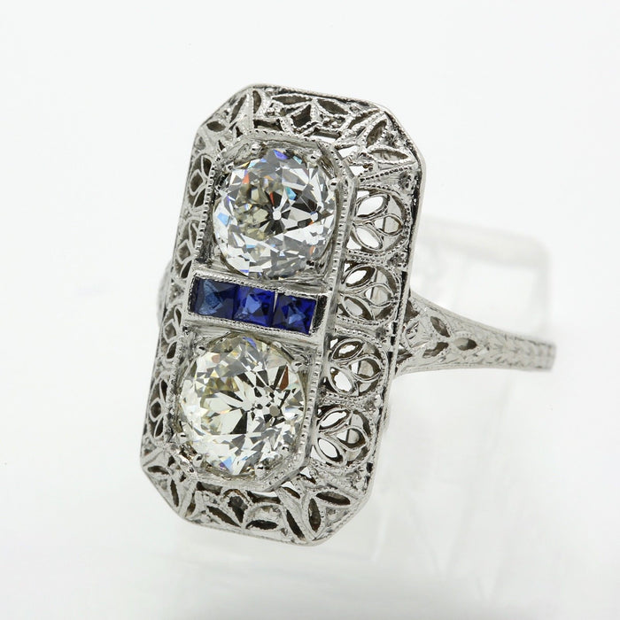 Art Deco Ring in Platinum 2.13 total carats Diamonds & Sapphire. GIA Certified - Terrafinejewelry