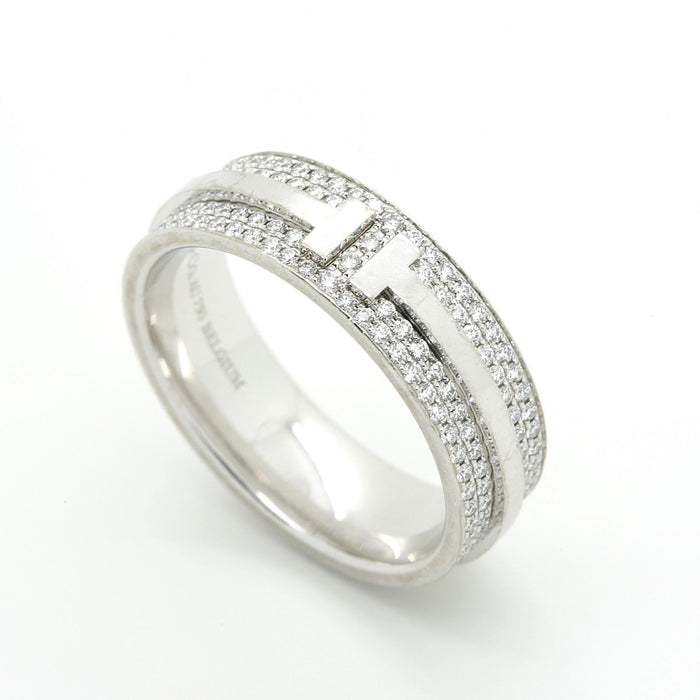 Tiffany & Co. T Two Ring in 18k White Gold and Diamonds. Size US 6 1/2. - Terrafinejewelry
