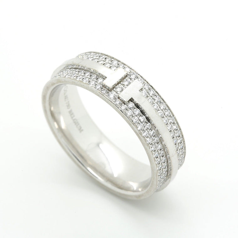 Tiffany & Co. T Two Ring in 18k White Gold and Diamonds. Size US 6 1/2.