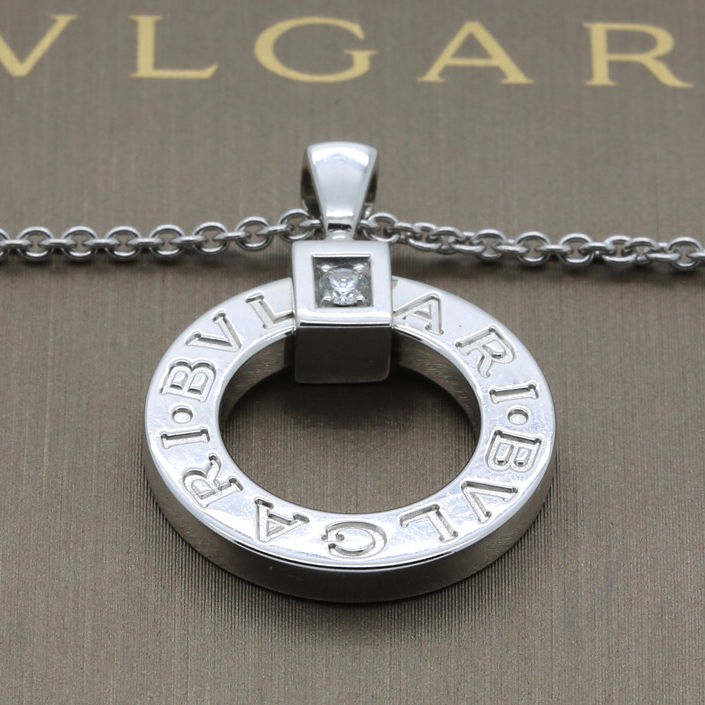 Bvlgari Bvlgari Necklace Pendant in 18k White Gold & Diamond Box & Papers - Terrafinejewelry
