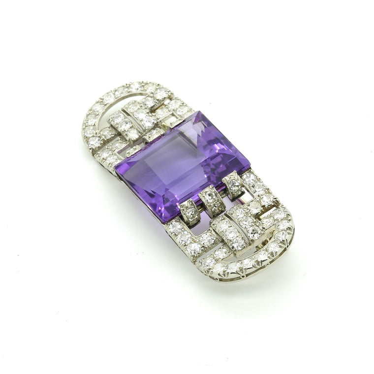 Antique Art Deco Brooch Pin in Platinum Diamond and Amethyst signed Marzo Paris