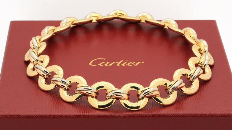 Cartier Trinity Twist Link Necklace in 18k Yellow Gold and Tricolor Gold
