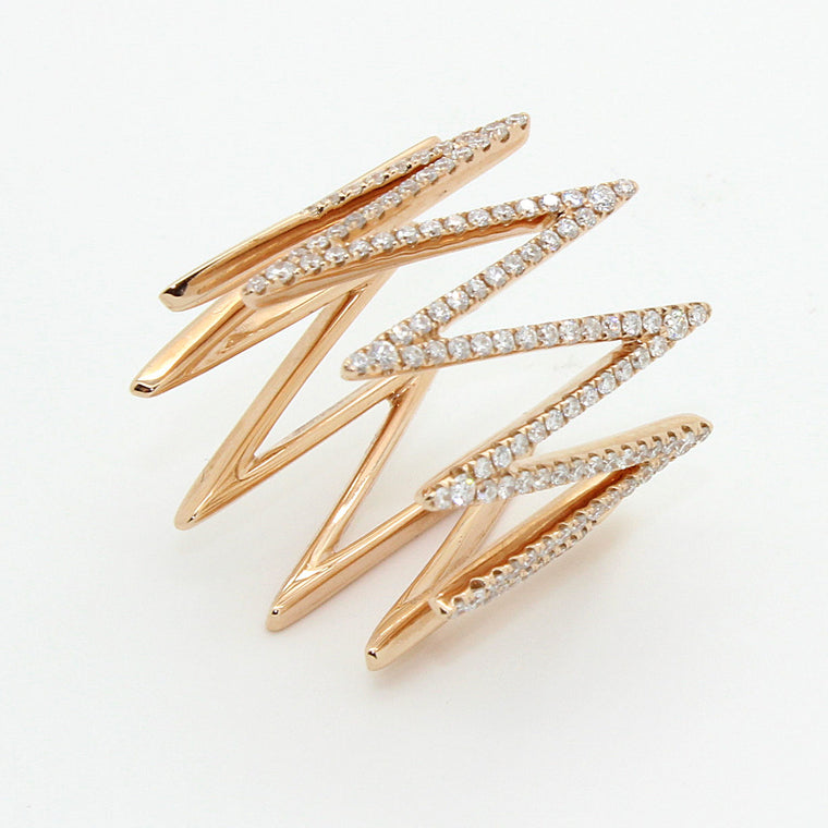 New Diamond Ring with Zig Zag motif made in solid 18k Rose Gold