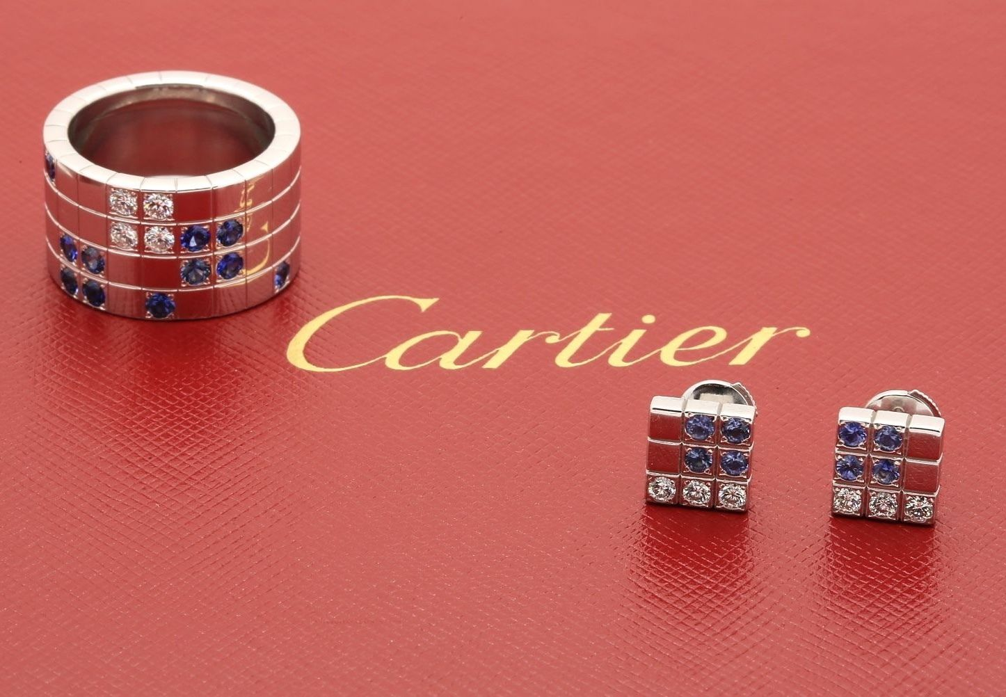 Cartier Links & Chains Lanieres Set Ring & Earrings White Gold Diamond Sapphire - Terrafinejewelry