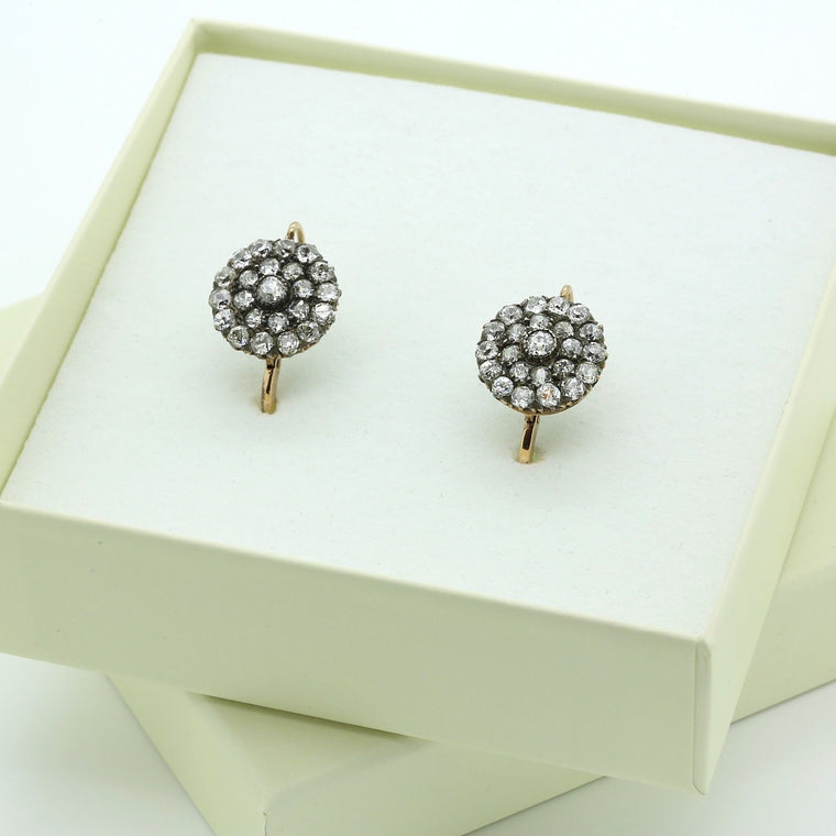 Victorian Diamond Cluster Earrings in 18k Yellow Gold Total Carat 3.5