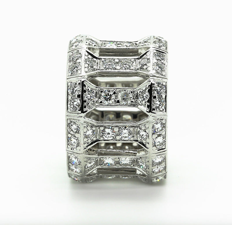 18k white gold and diamonds cartier open work Anthalia ring, size 53 EU 6.25 US. - Terrafinejewelry