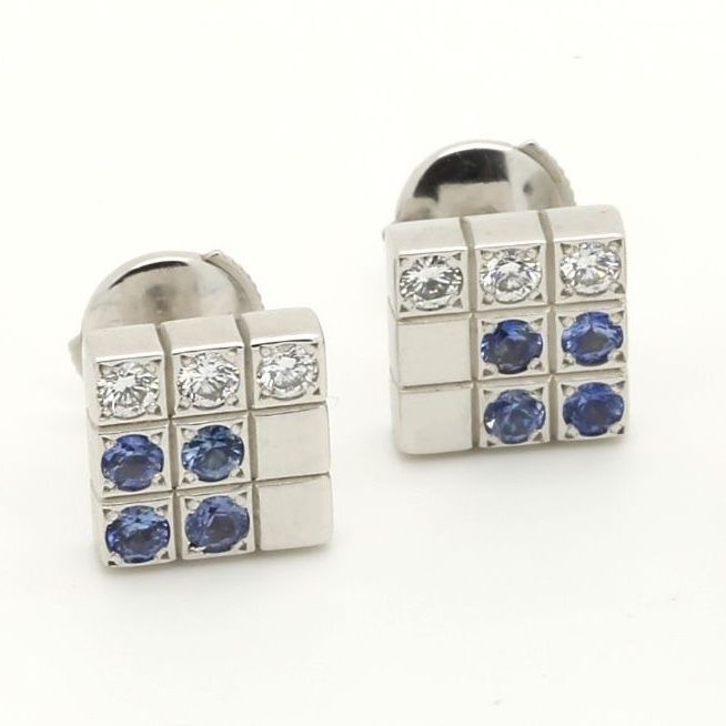Cartier Links & Chains Lanieres Earrings 18k White Gold Diamond Blue Sapphire - Terrafinejewelry