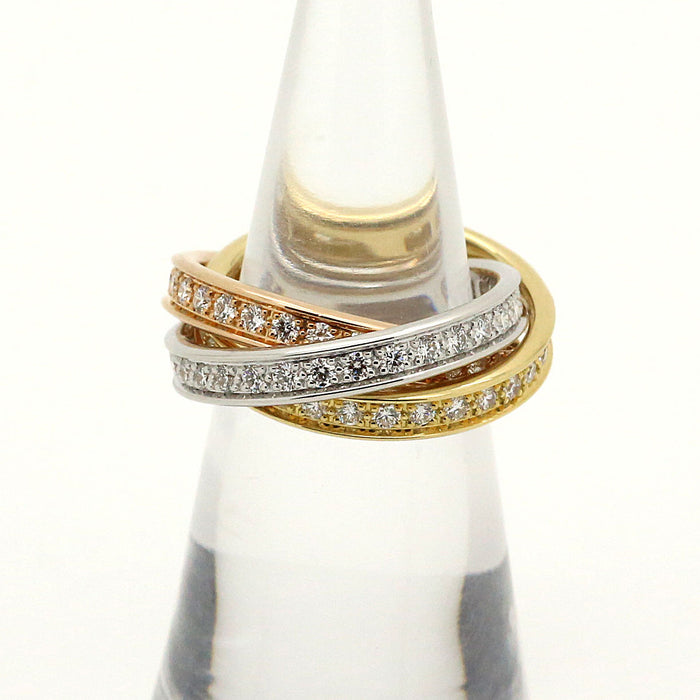 Cartier Trinity Diamond Band Ring in 18k White Yellow & Rose Gold with box. - Terrafinejewelry