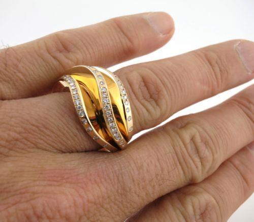 18k pink gold Cartier Nouvelle vague Glam 3 wave cocktail ring 7.25 US 55 EU - Terrafinejewelry