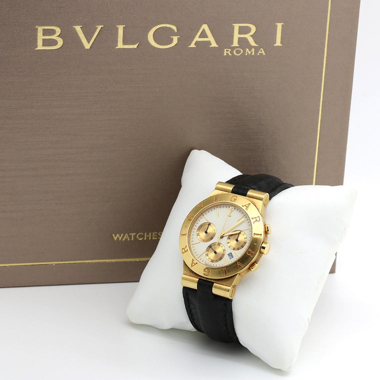 Bvlgari (Bulgari) Diagono Chronograph Watch in 18k Yellow Gold CH 35 G