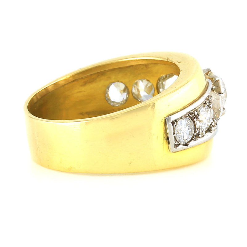 Art deco 18k Yellow Gold platinum and Old European diamond ring size 9 - Terrafinejewelry