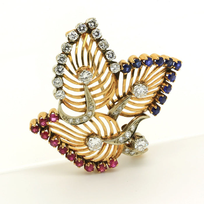 Vintage Brooch Pin Leaves Motif 18k Yellow & White Gold Diamond Ruby Sapphire - Terrafinejewelry