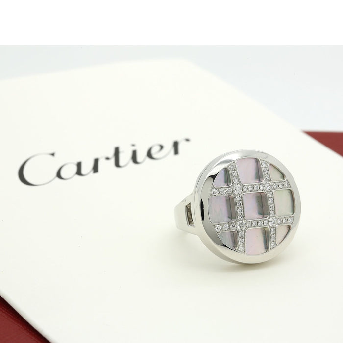 Cartier Pasha Ring in 18k White Gold with Diamonds and Mother of Pearl size 52 - Terrafinejewelry