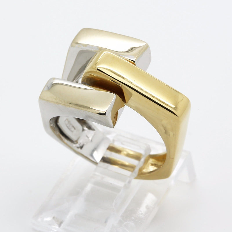 18k yellow and white gold italian link style ring size 7.5 US 56 EU - Terrafinejewelry