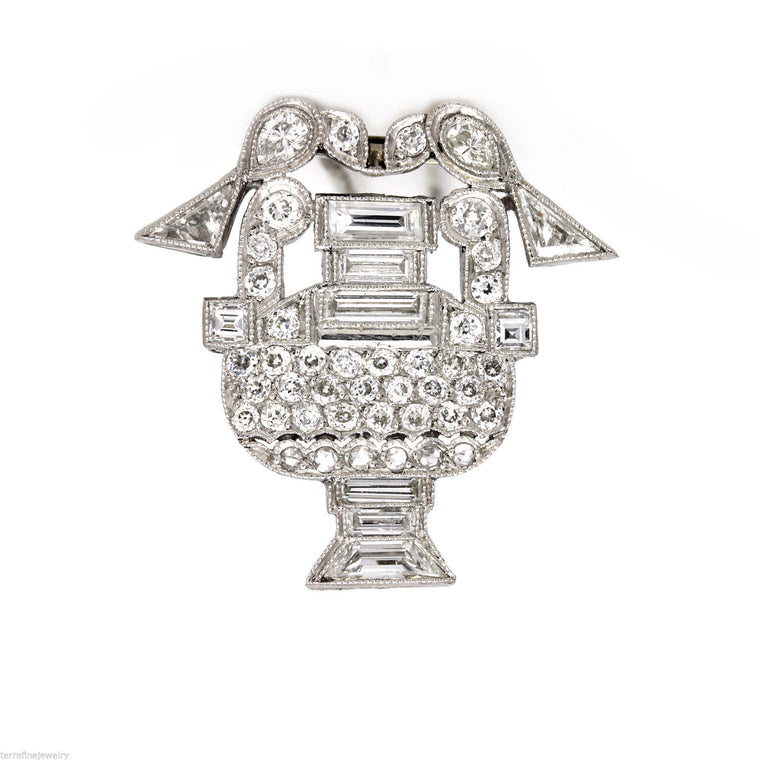 Antique art deco platinum diamond Brooch pin birds drinking from the fountain