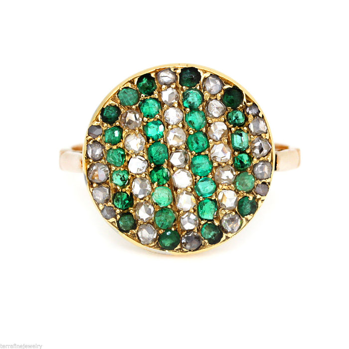 Antique art deco 18k Yellow Gold Diamond and Emerald Ring size 7.5 1930's - Terrafinejewelry