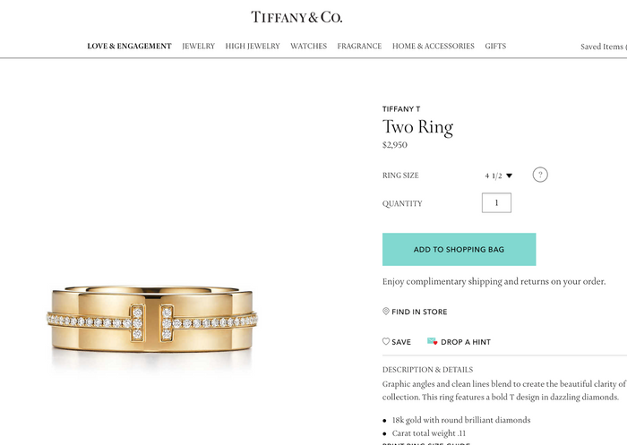 Tiffany & Co. T Two Ring in 18k Yellow Gold and Diamonds. Size US 6 1/2. - Terrafinejewelry