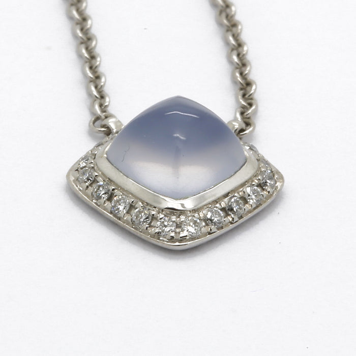 Fred Pain de Sucre Ring & Necklace Set in 18K White Gold Chalcedony & Diamonds - Terrafinejewelry