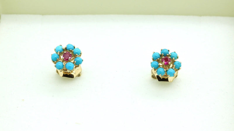 Vintage 18k rose gold Turquoise & Ruby Set of Ring & Earrings Size 6.75 - Terrafinejewelry