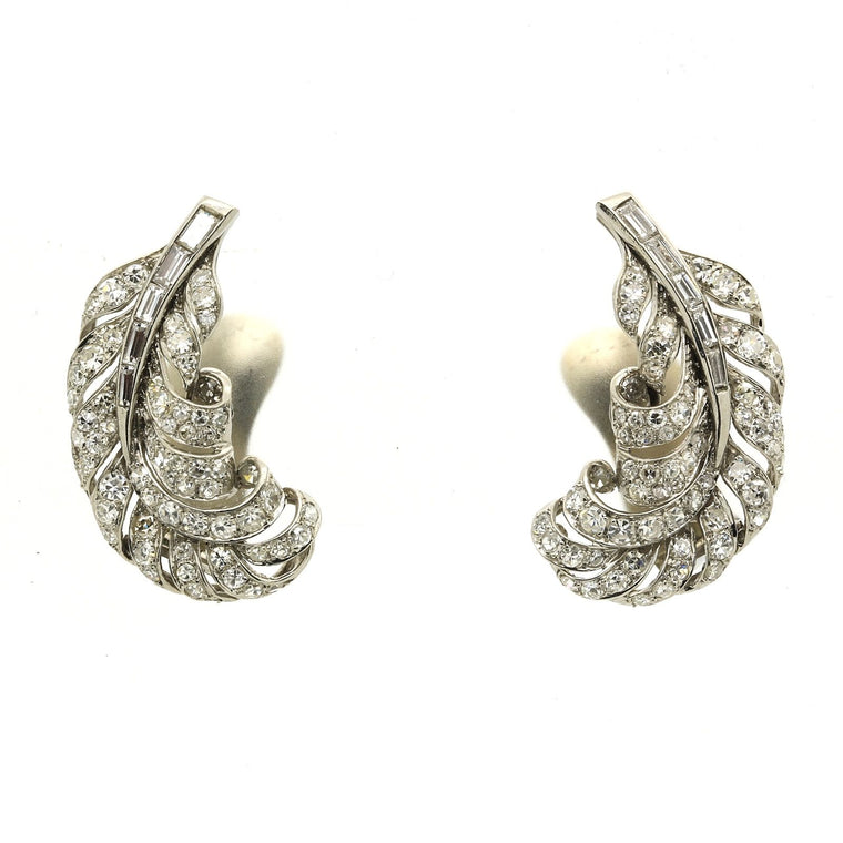 Antique Edwardian Platinum Diamond Earrings with 4.26 total carats in Diamonds