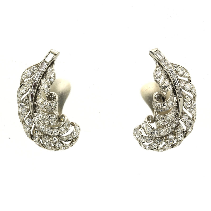 Antique Edwardian Platinum Diamond Earrings with 4.26 total carats in Diamonds - Terrafinejewelry