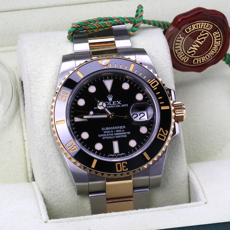 Rolex submariner yellow gold stainless steel black ceramic bezel dial ref 116613