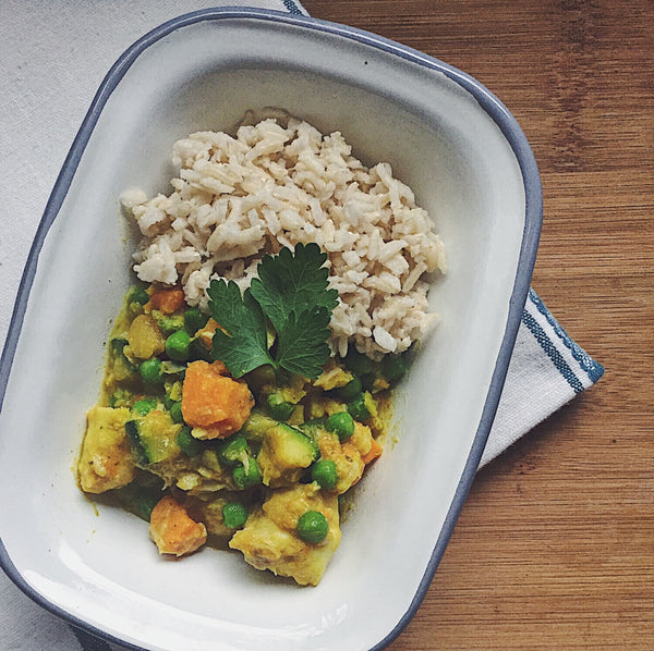 Mild Cod & Sweet Potato Curry with Brown Rice