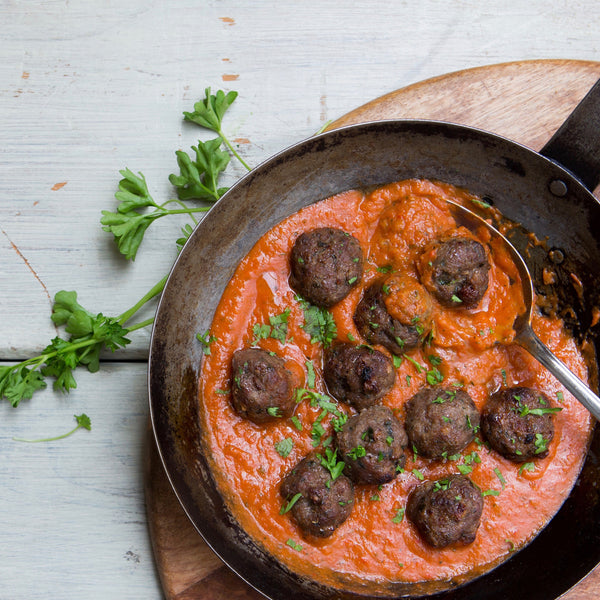 Lamb & Sultana Meatballs in Roasted Veggie Sauce with Quinoa