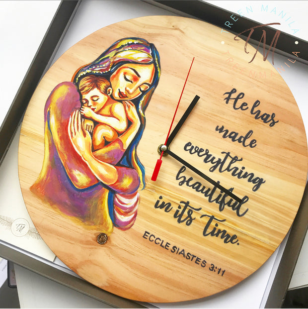 Mother & Child Hand painted Pallet Clock
